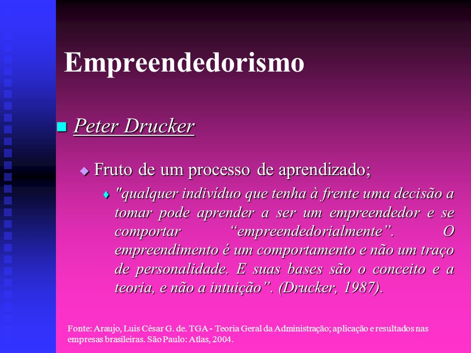 Empreendedorismo Peter Drucker Fruto de um processo de aprendizado;