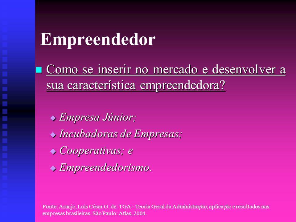 Empreendedor Como se inserir no mercado e desenvolver a sua característica empreendedora Empresa Júnior;