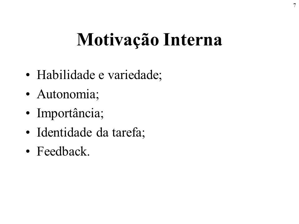 Motivação Interna Habilidade e variedade; Autonomia; Importância;