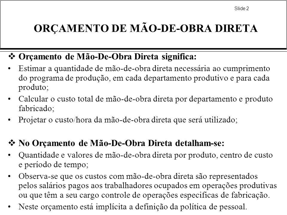 ORÇAMENTO DE MÃO-DE-OBRA DIRETA