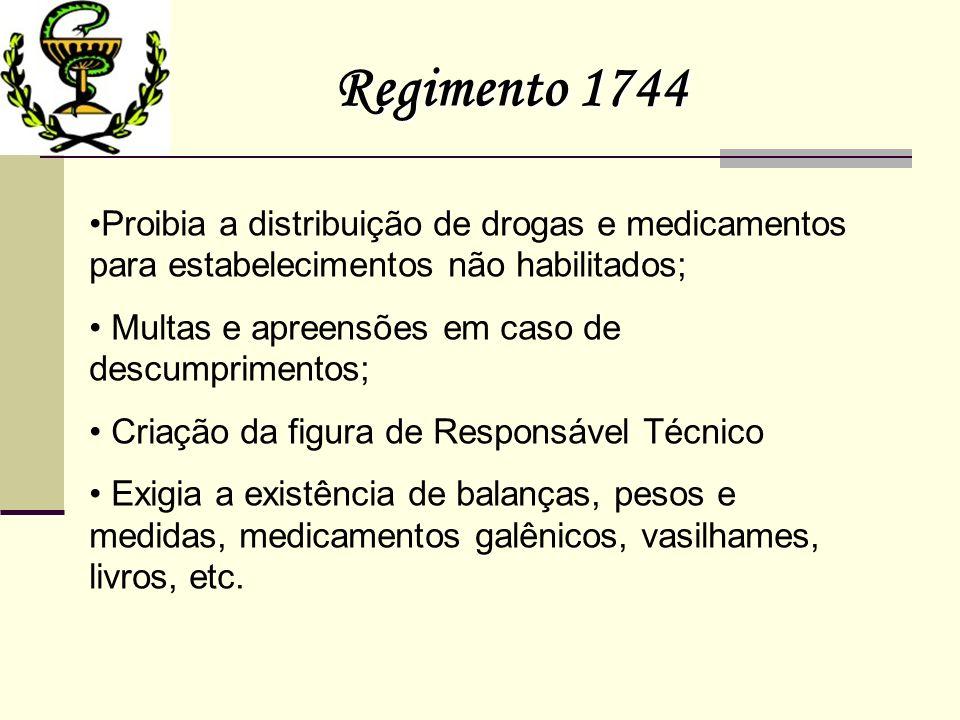 Regimento 1744 Proibia a distribuição de drogas e medicamentos para estabelecimentos não habilitados;