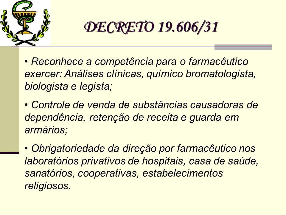 DECRETO 19.606/31 Reconhece a competência para o farmacêutico exercer: Análises clínicas, químico bromatologista, biologista e legista;