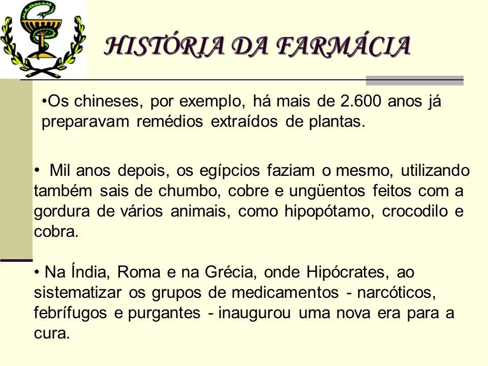 HISTÓRIA DA FARMÁCIA Os chineses, por exemplo, há mais de 2.600 anos já preparavam remédios extraídos de plantas.