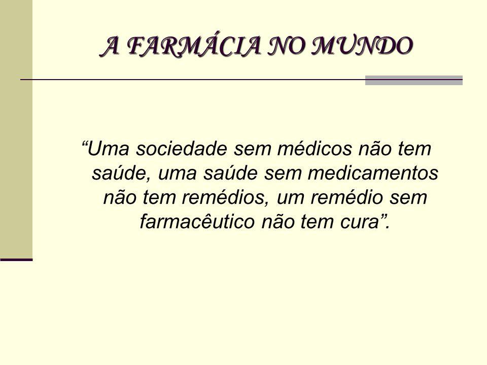 A FARMÁCIA NO MUNDO Uma sociedade sem médicos não tem saúde, uma saúde sem medicamentos não tem remédios, um remédio sem farmacêutico não tem cura .