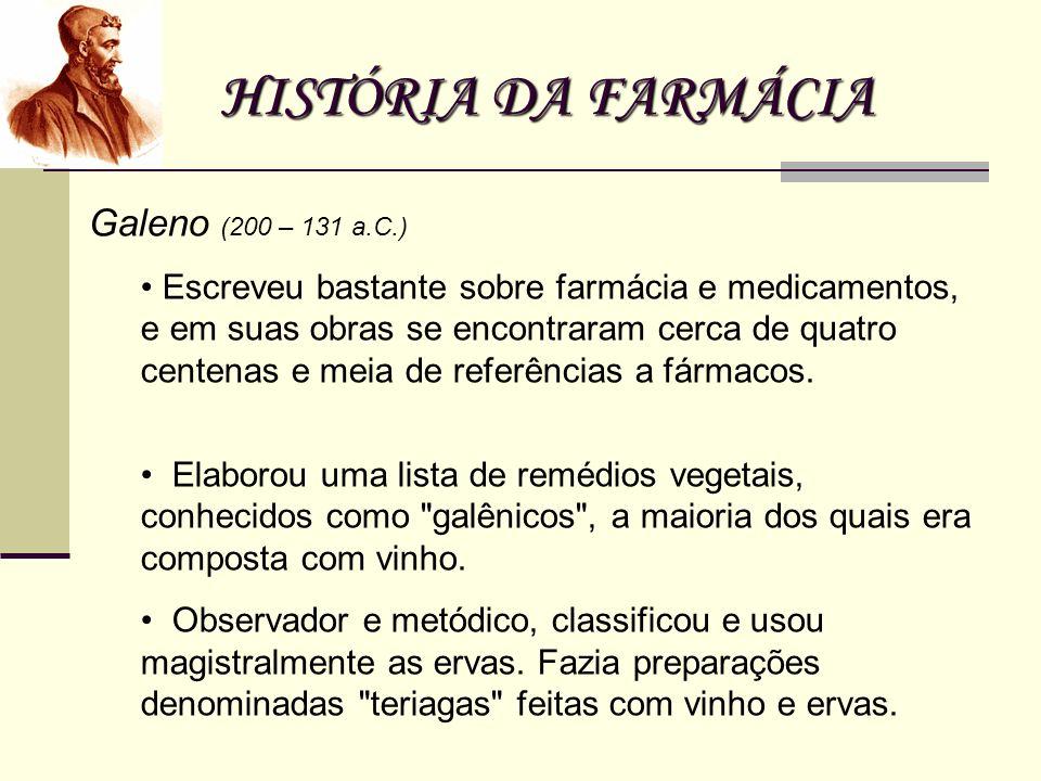 HISTÓRIA DA FARMÁCIA Galeno (200 – 131 a.C.)