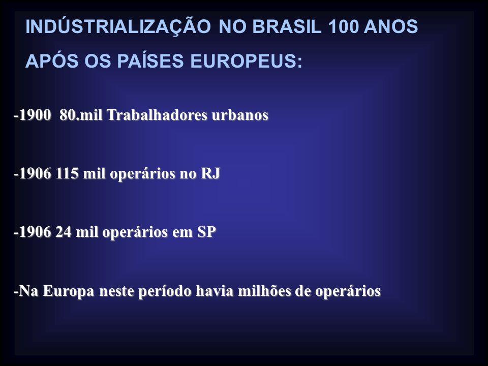 INDÚSTRIALIZAÇÃO NO BRASIL 100 ANOS APÓS OS PAÍSES EUROPEUS: