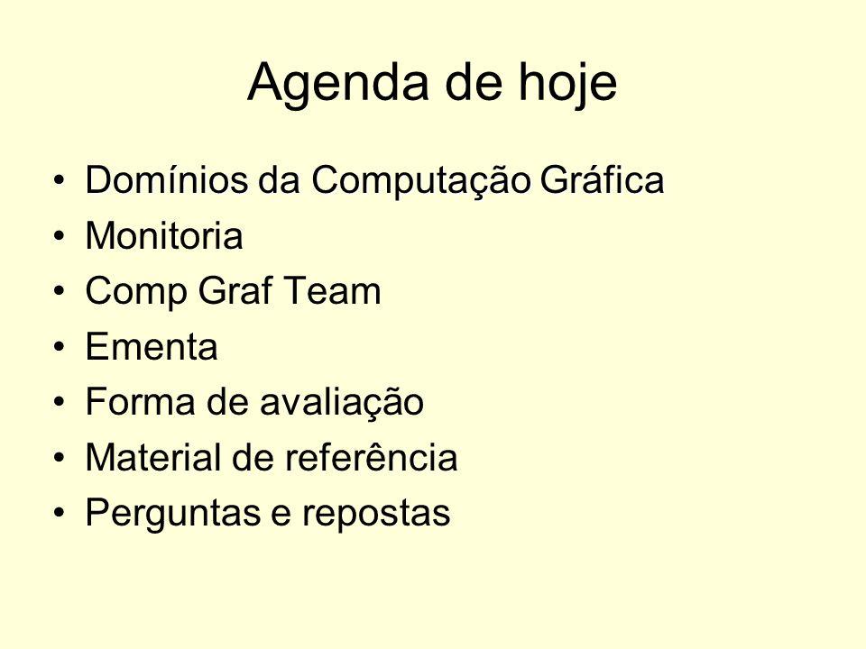 Agenda de hoje Domínios da Computação Gráfica Monitoria Comp Graf Team