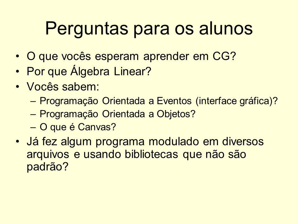 Perguntas para os alunos