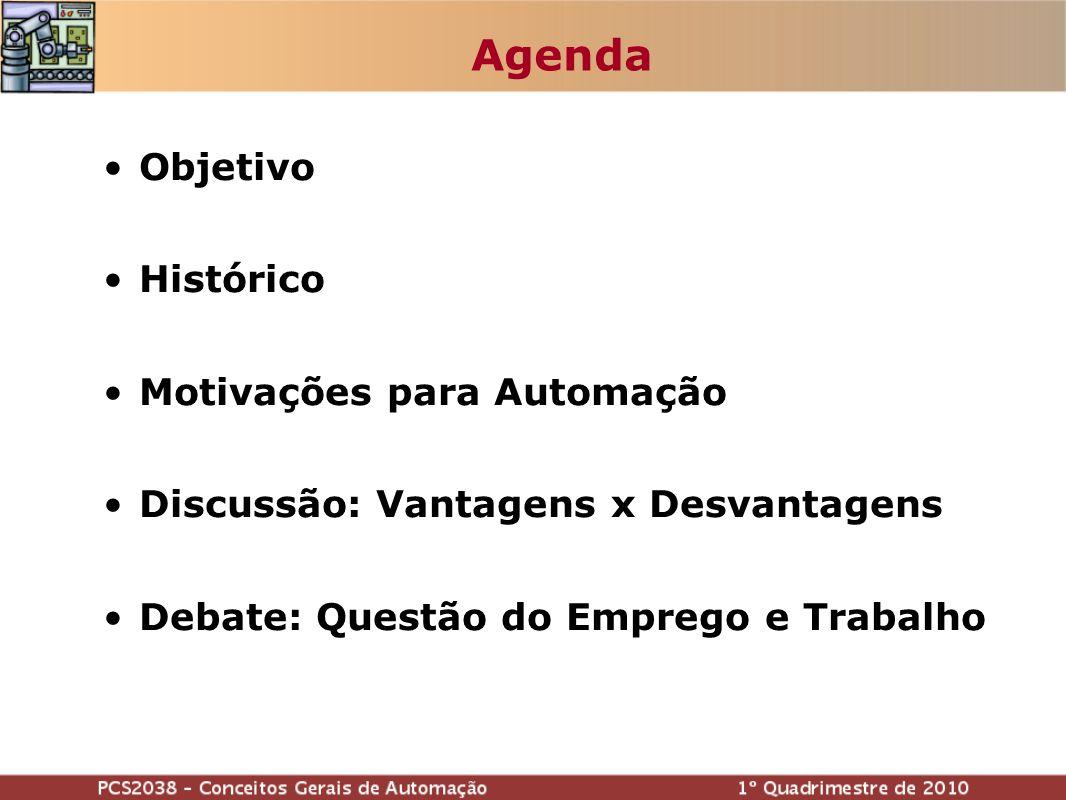 Agenda Objetivo Histórico Motivações para Automação