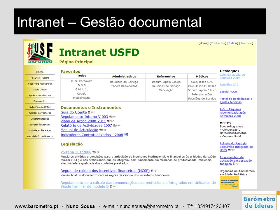 Intranet – Gestão documental