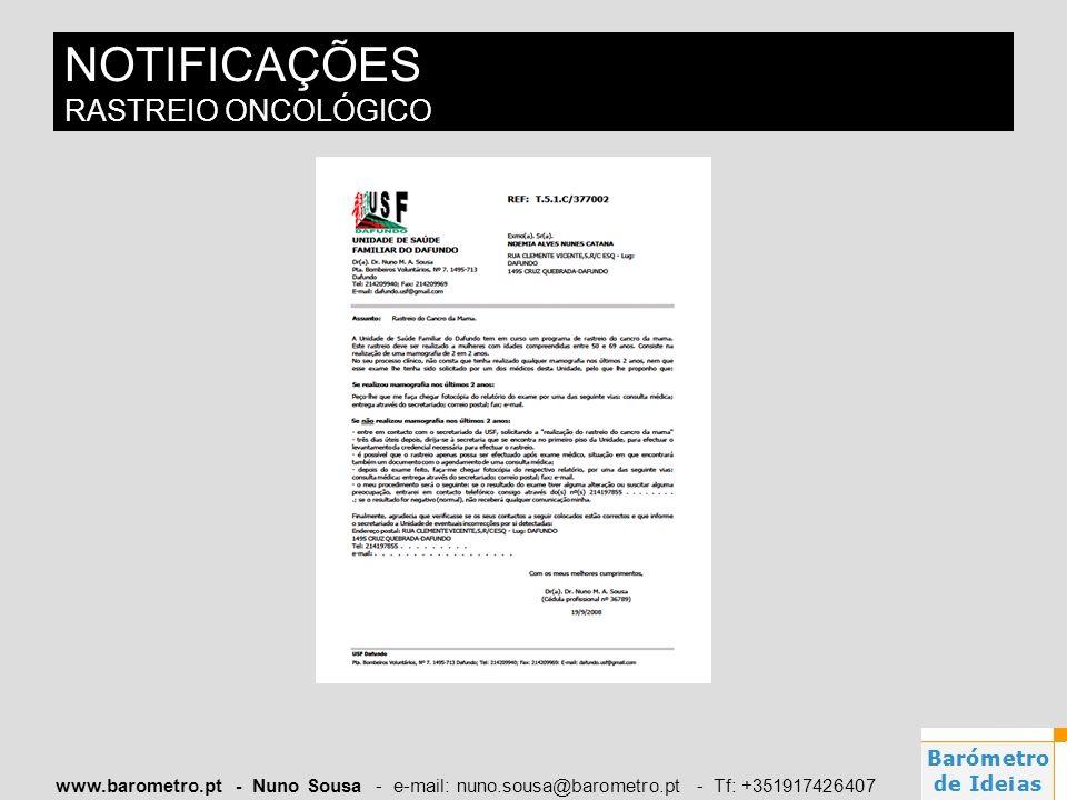 NOTIFICAÇÕES RASTREIO ONCOLÓGICO
