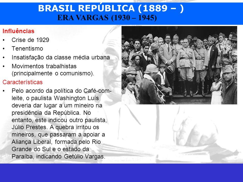Influências Crise de 1929. Tenentismo. Insatisfação da classe média urbana. Movimentos trabalhistas (principalmente o comunismo).