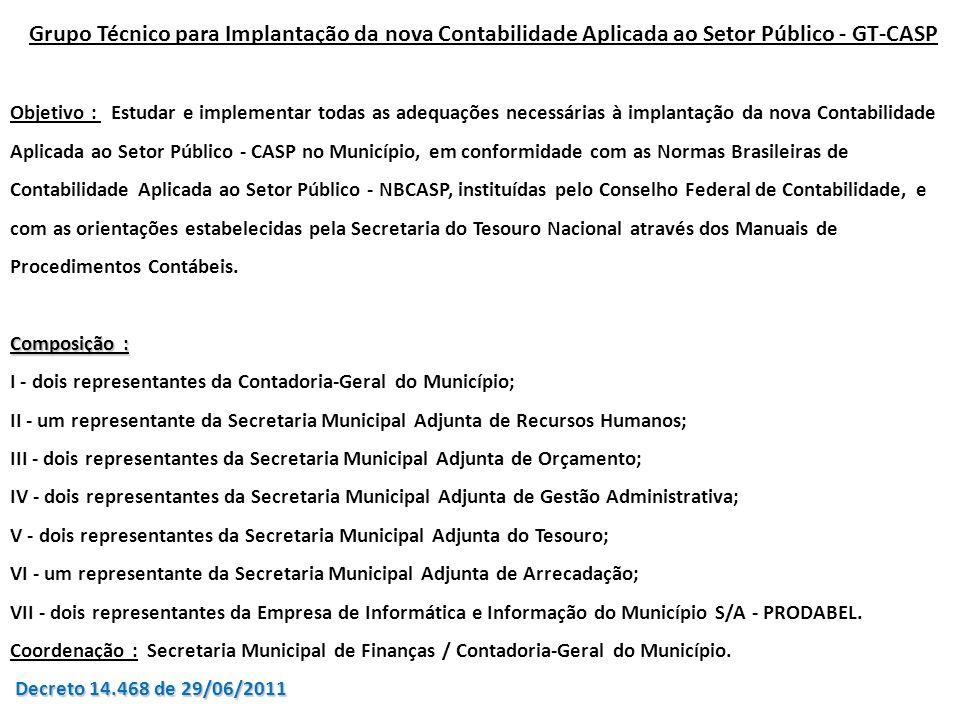 Grupo Técnico para Implantação da nova Contabilidade Aplicada ao Setor Público - GT-CASP