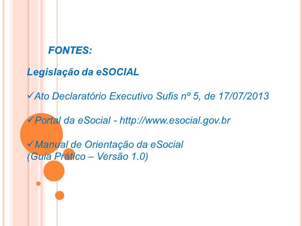 FONTES: Legislação da eSOCIAL. Ato Declaratório Executivo Sufis nº 5, de 17/07/2013. Portal da eSocial - http://www.esocial.gov.br.