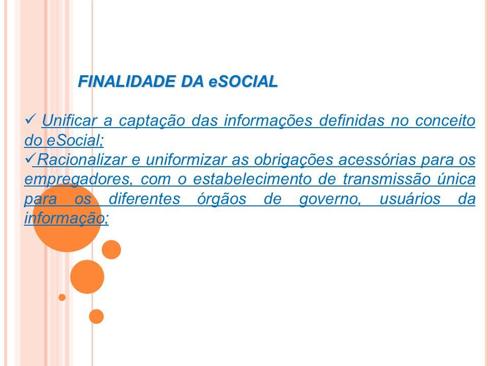 FINALIDADE DA eSOCIAL Unificar a captação das informações definidas no conceito do eSocial;