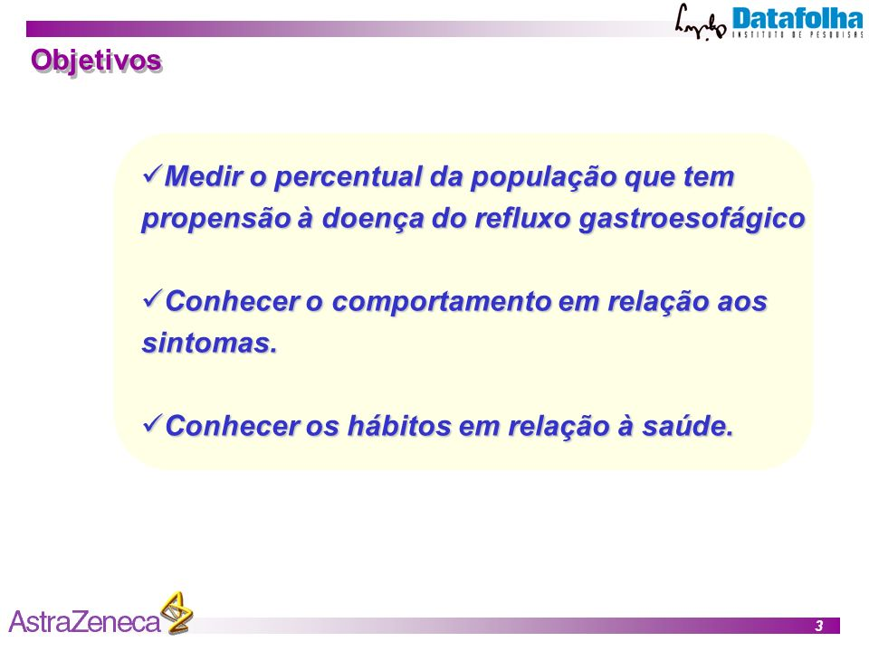Objetivos Medir o percentual da população que tem propensão à doença do refluxo gastroesofágico. Conhecer o comportamento em relação aos sintomas.
