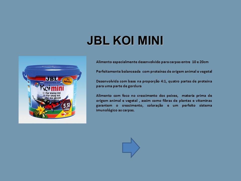JBL KOI MINI Alimento especialmente desenvolvido para carpas entre 10 e 20cm. Perfeitamente balanceada com proteínas de origem animal e vegetal.