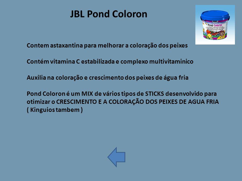 JBL Pond Coloron Contem astaxantina para melhorar a coloração dos peixes. Contém vitamina C estabilizada e complexo multivitaminico.