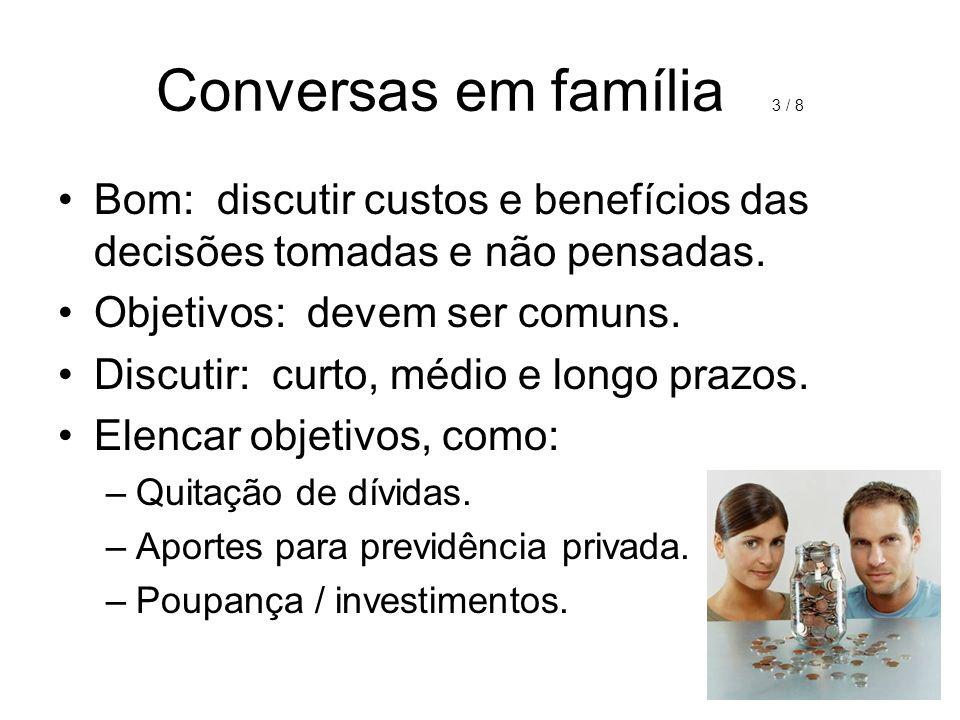 Conversas em família 3 / 8 Bom: discutir custos e benefícios das decisões tomadas e não pensadas.