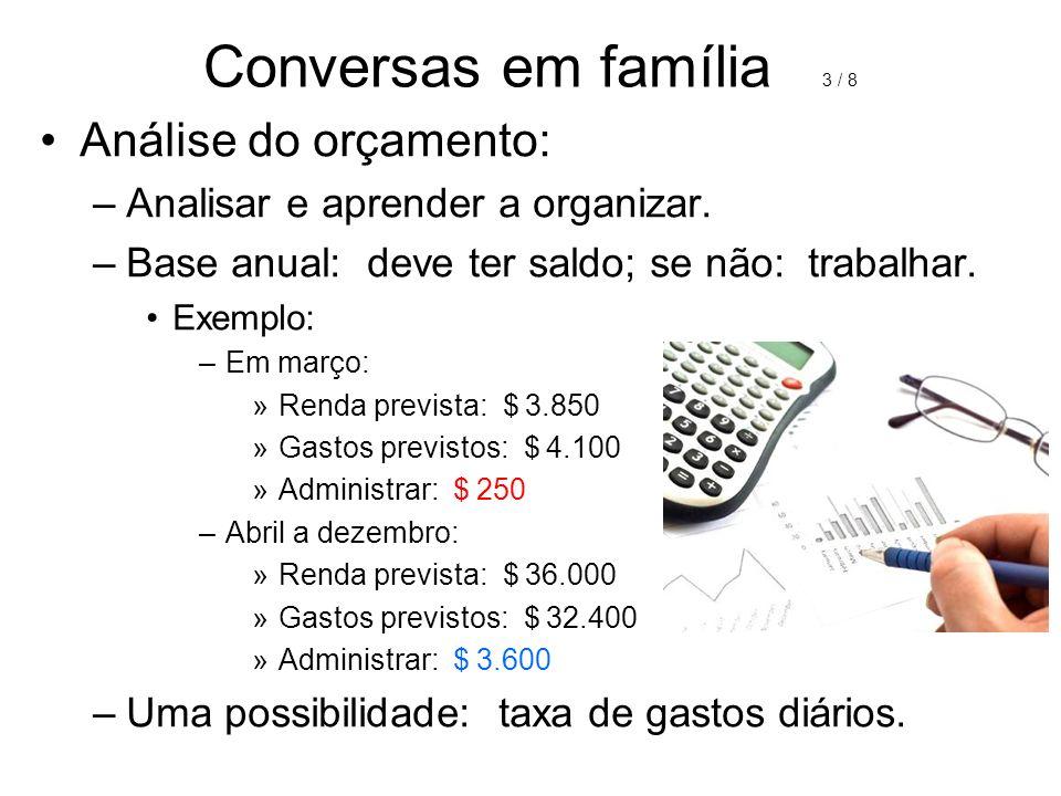 Conversas em família 3 / 8 Análise do orçamento: