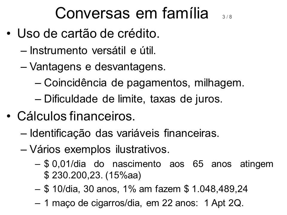Conversas em família 3 / 8 Uso de cartão de crédito.