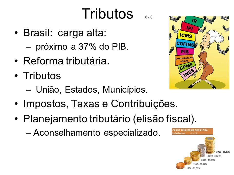 Tributos 6 / 8 Brasil: carga alta: Reforma tributária. Tributos