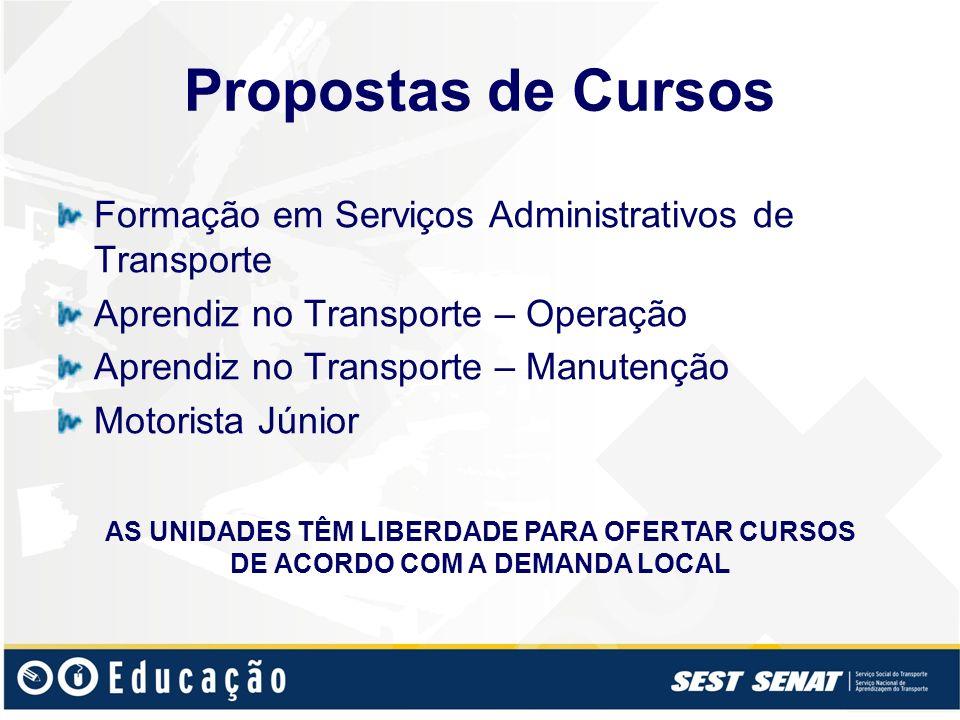Propostas de Cursos Formação em Serviços Administrativos de Transporte