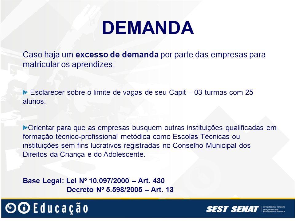 DEMANDA Caso haja um excesso de demanda por parte das empresas para matricular os aprendizes: