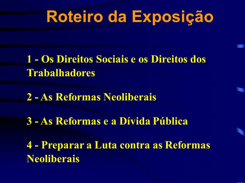 Roteiro da Exposição 1 - Os Direitos Sociais e os Direitos dos Trabalhadores. 2 - As Reformas Neoliberais.