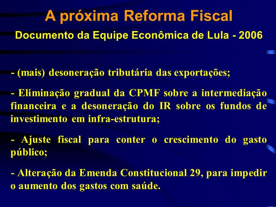 A próxima Reforma Fiscal Documento da Equipe Econômica de Lula - 2006