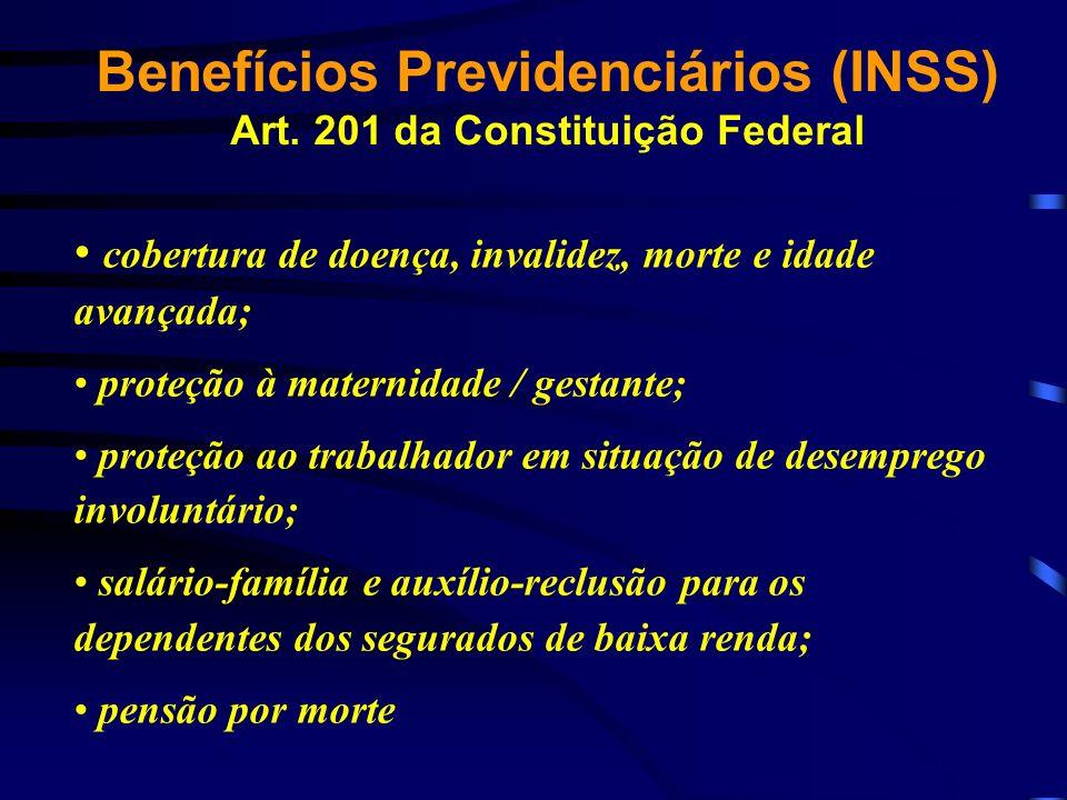 Benefícios Previdenciários (INSS) Art. 201 da Constituição Federal