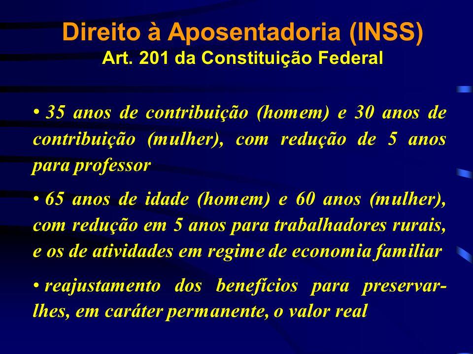 Direito à Aposentadoria (INSS) Art. 201 da Constituição Federal