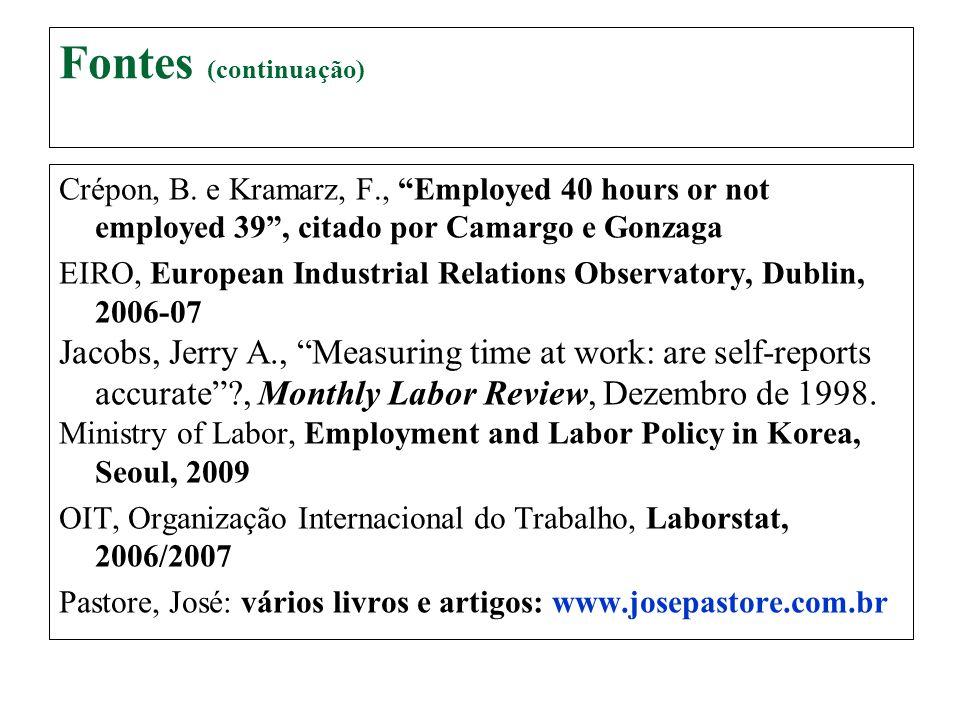 Fontes (continuação) Crépon, B. e Kramarz, F., Employed 40 hours or not employed 39 , citado por Camargo e Gonzaga.