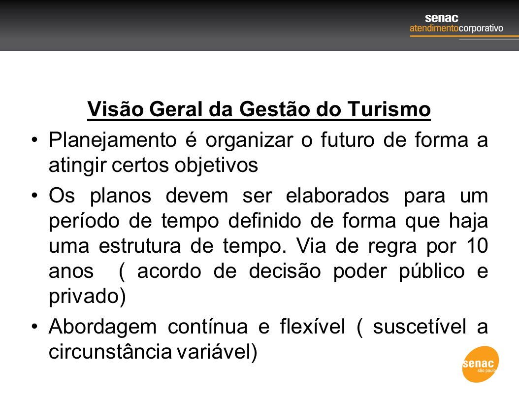 Visão Geral da Gestão do Turismo