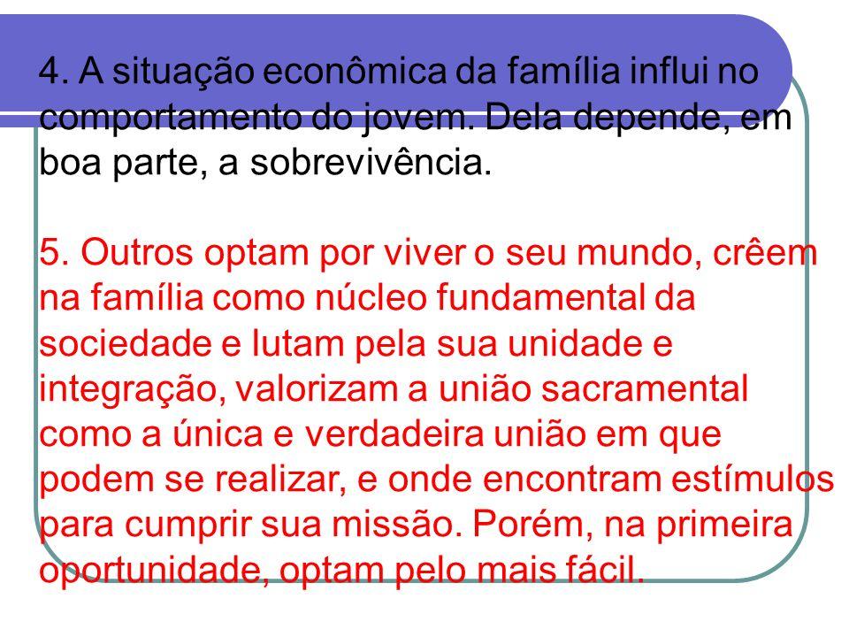 4. A situação econômica da família influi no comportamento do jovem