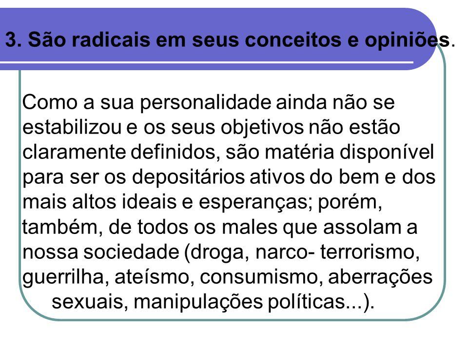3. São radicais em seus conceitos e opiniões.