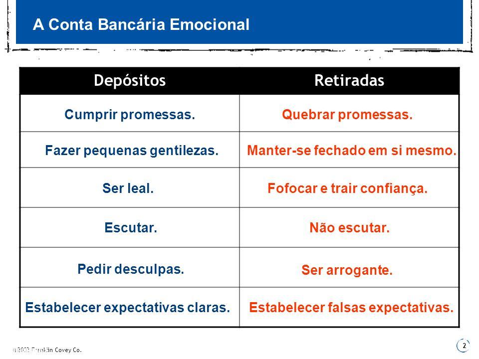 A Conta Bancária Emocional Depósitos Retiradas