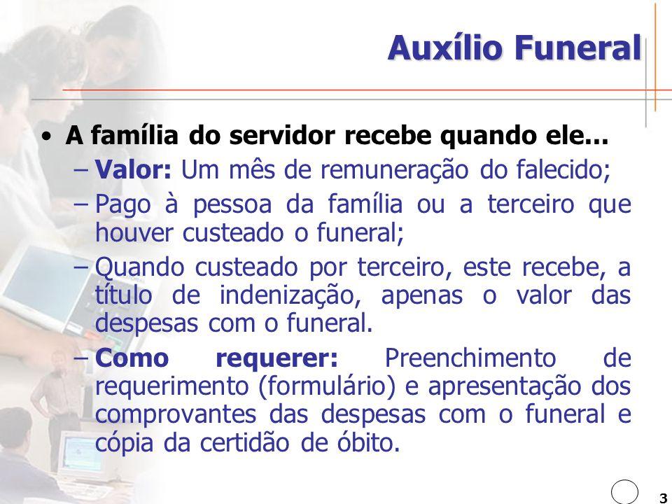 Auxílio Funeral A família do servidor recebe quando ele...