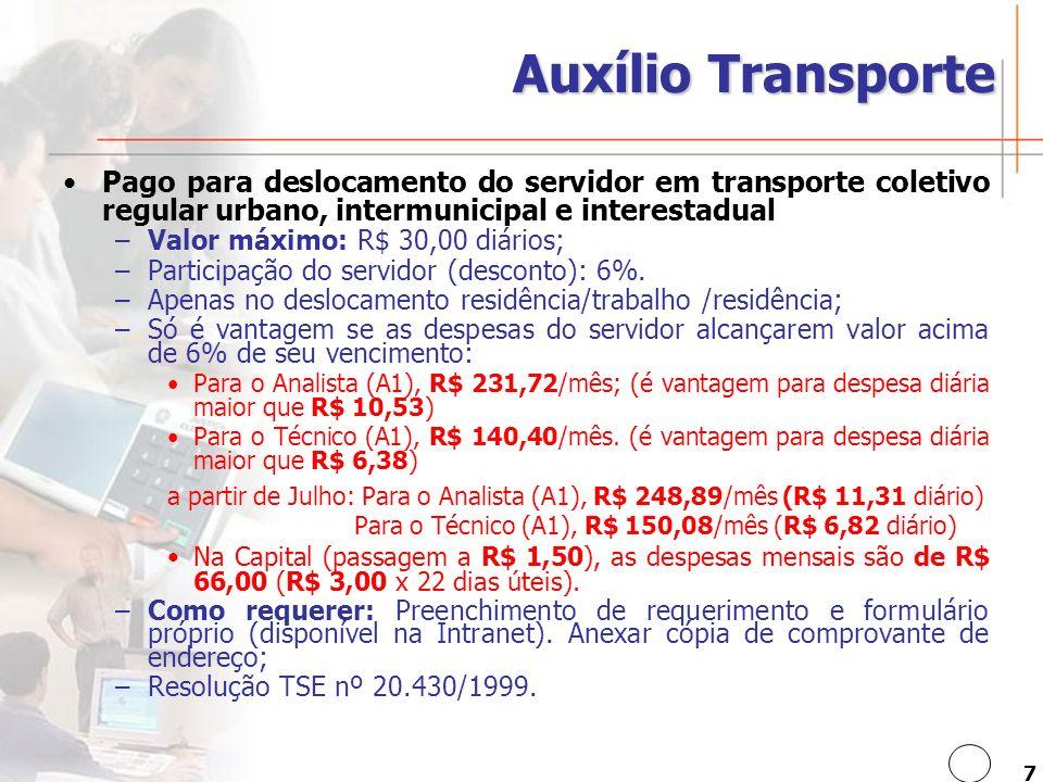 Auxílio Transporte Pago para deslocamento do servidor em transporte coletivo regular urbano, intermunicipal e interestadual.