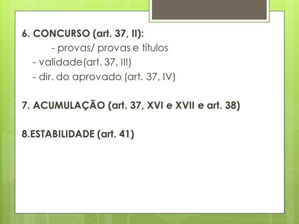 6. CONCURSO (art. 37, II): - provas/ provas e títulos - validade(art