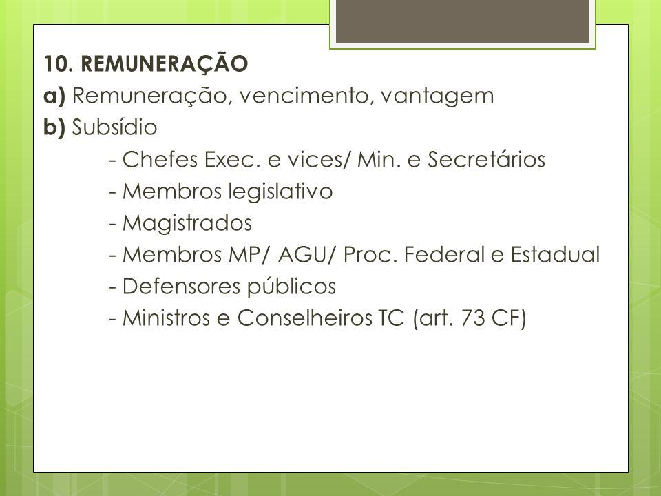 10. REMUNERAÇÃO a) Remuneração, vencimento, vantagem b) Subsídio - Chefes Exec.