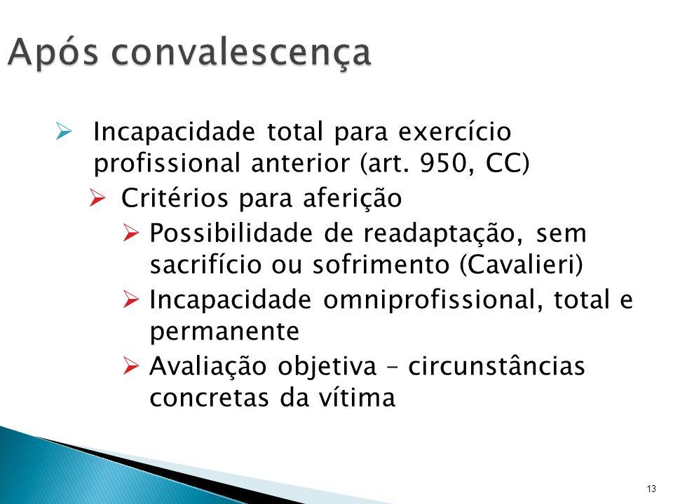 Após convalescença Incapacidade total para exercício profissional anterior (art. 950, CC) Critérios para aferição.