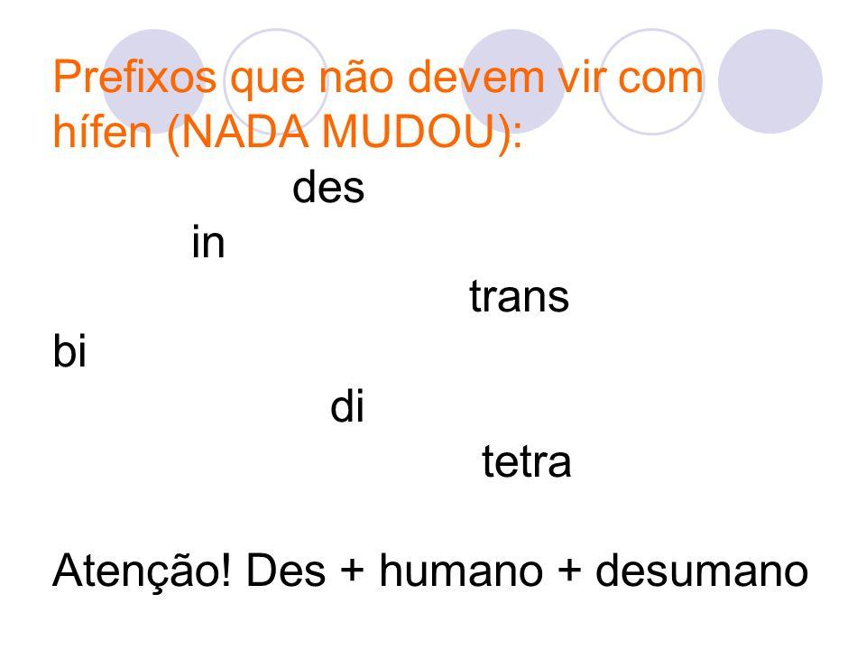 Prefixos que não devem vir com hífen (NADA MUDOU): des in trans bi di tetra Atenção.