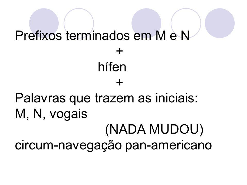 Prefixos terminados em M e N + hífen + Palavras que trazem as iniciais: M, N, vogais (NADA MUDOU) circum-navegação pan-americano