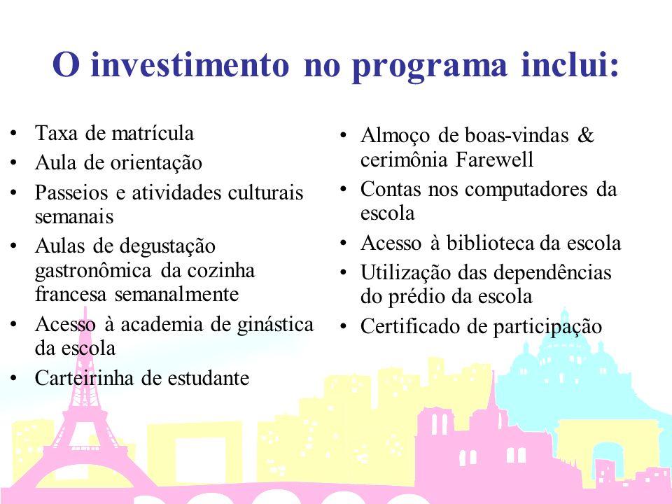 O investimento no programa inclui: