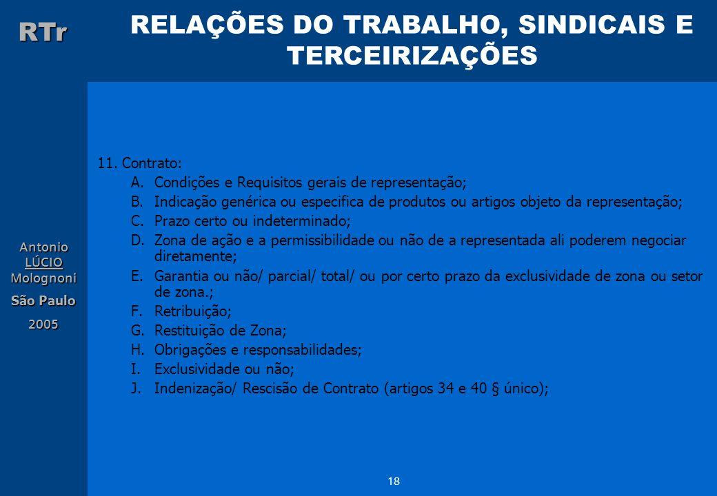 11. Contrato: Condições e Requisitos gerais de representação; Indicação genérica ou especifica de produtos ou artigos objeto da representação;