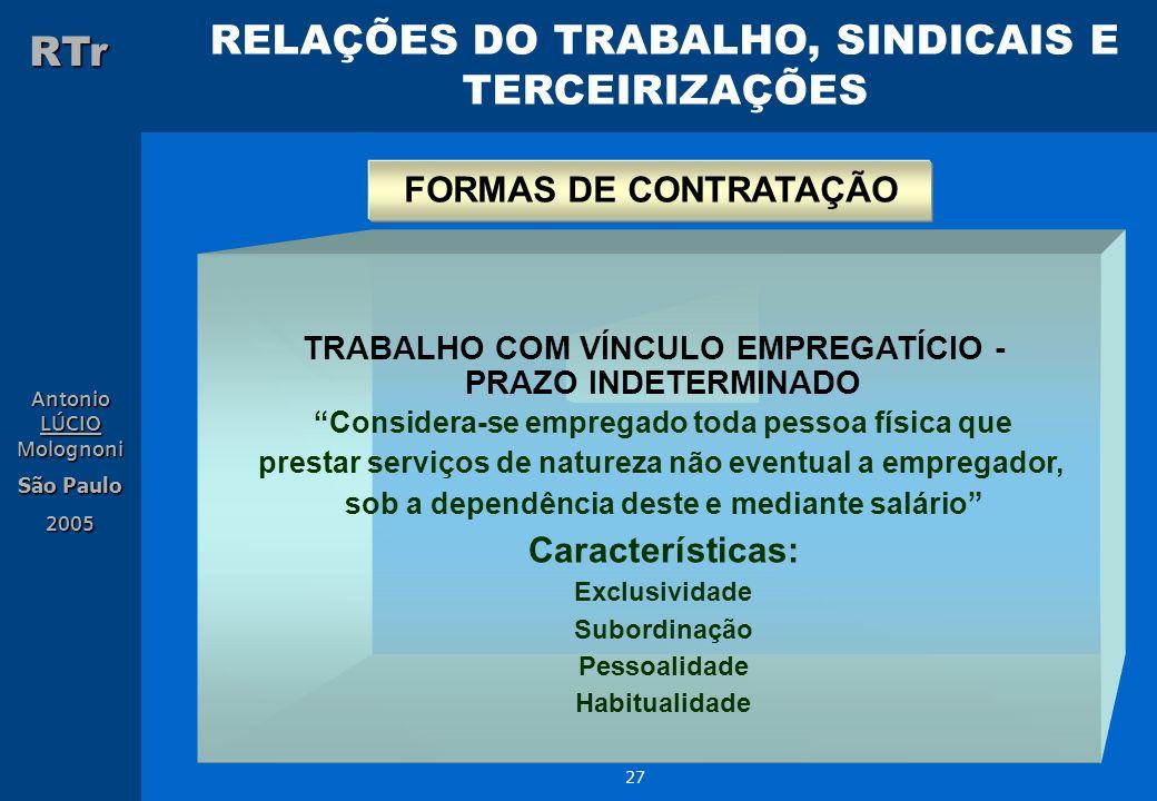 FORMAS DE CONTRATAÇÃO Características: