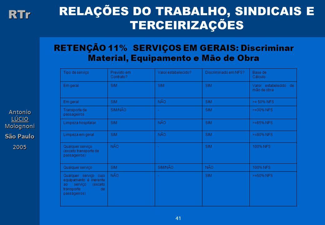 RETENÇÃO 11% SERVIÇOS EM GERAIS: Discriminar Material, Equipamento e Mão de Obra