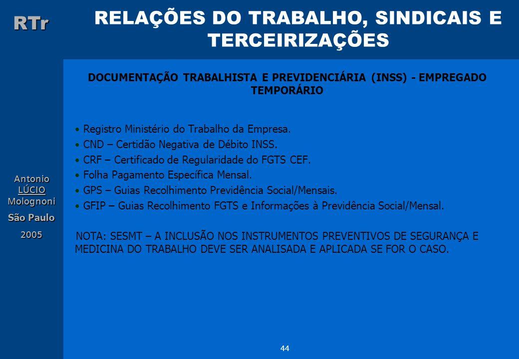 DOCUMENTAÇÃO TRABALHISTA E PREVIDENCIÁRIA (INSS) - EMPREGADO TEMPORÁRIO