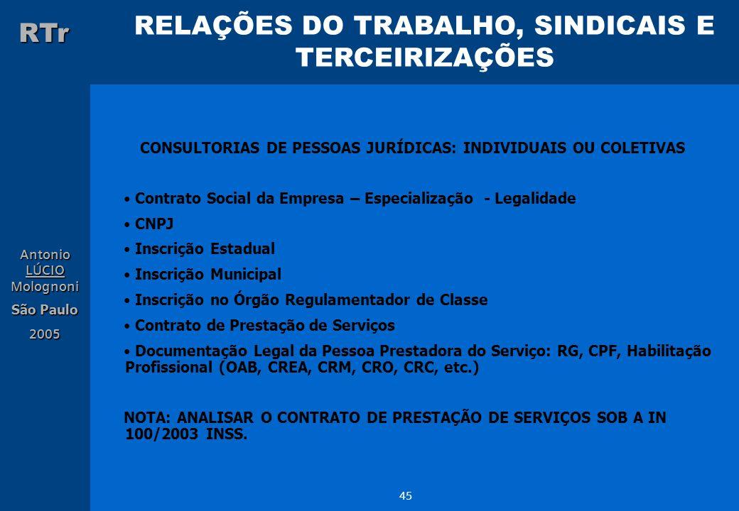 CONSULTORIAS DE PESSOAS JURÍDICAS: INDIVIDUAIS OU COLETIVAS